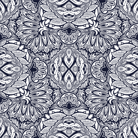 Decorative vintage leafy floral seamless pattern.