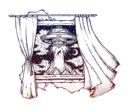 Window with curtains blown by the wind breeze showing fantastic Alien Spaceship. Illustration