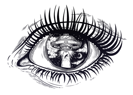 All seeing eye with fantastic Alien Spaceship. UFO abduction of a human with flying saucer. Ilustração