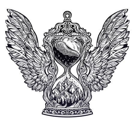 Decorative antique winged hourglass with mountain stars and moon illustration Illustration