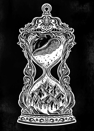 Decorative antique hourglass with mountains, stars and moon illustration. Illustration