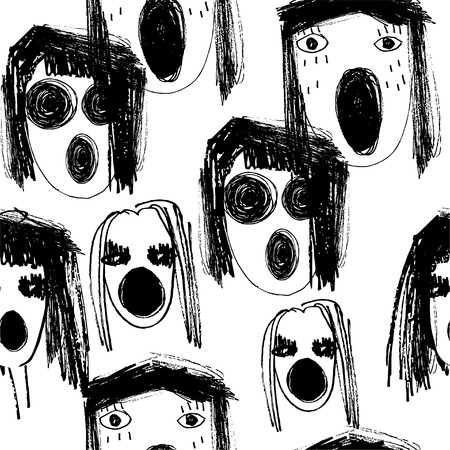 Hand-drawn nightmare crying monster faces doodle style seamless pattern. Illustration