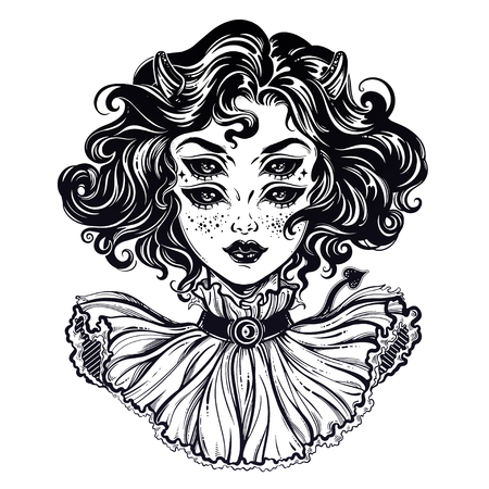 Gothic devil imp like witch girl head portrait with curly hair and four eyes.. Фото со стока