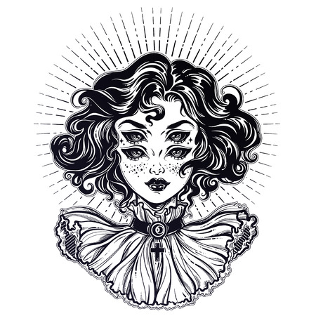 Gothic devil vampire like witch girl head portrait with curly hair and four eyes.. Illustration