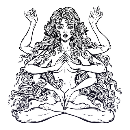 Beautiful Eastern many armed goddess girl in lotus position with long hair and six hands Ilustrace