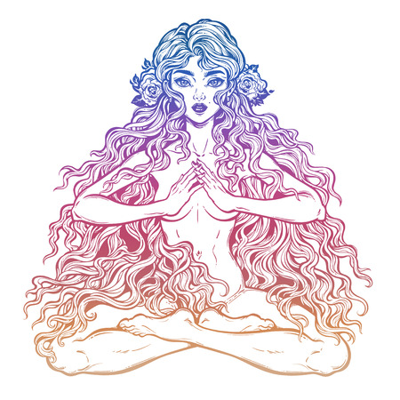 Beautiful girl in lotus position with long hair.