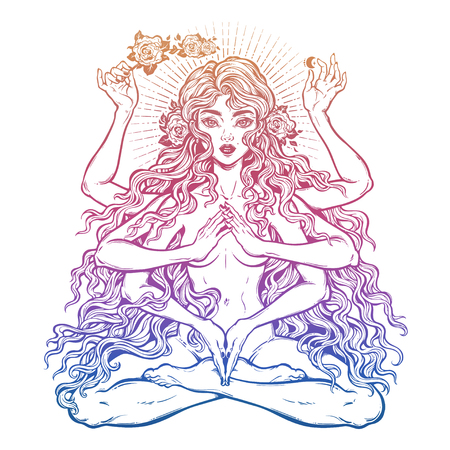 Beautiful Eastern many armed goddess girl in lotus position with long hair and six hands Illustration