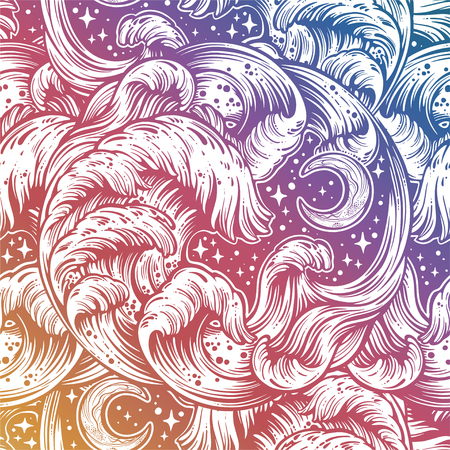 Seamless pattern with hand drawn sea water waves in sketch style. Vector endless background.