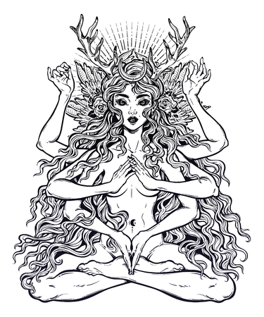 Beautiful ancient magic occult many armed goddess girl in lotus position with long hair, six hands 写真素材