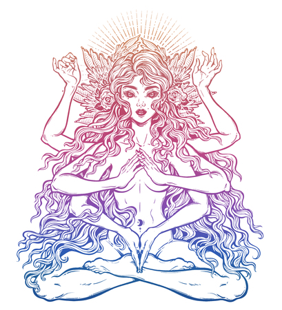Beautiful ancient magic occult many armed goddess girl in lotus position with long hair, six hands Stock Photo