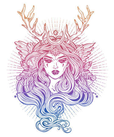 Demonic winged angel magic woman with deer antlerss and long hair.
