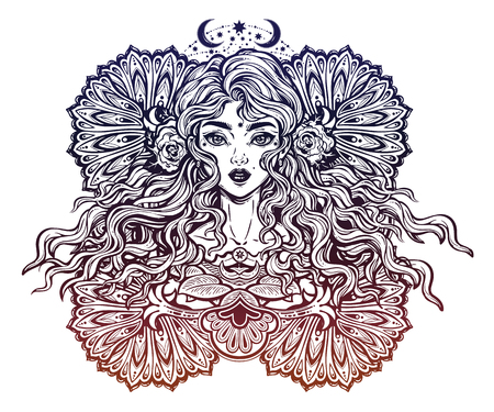 Beautiful ornate fashion women, girl with abstract long hair. Hand drawn face.