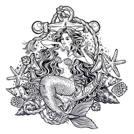 Hand drawn artwork of beautiful mermaid girl sitting on the anchor with seashells 스톡 콘텐츠