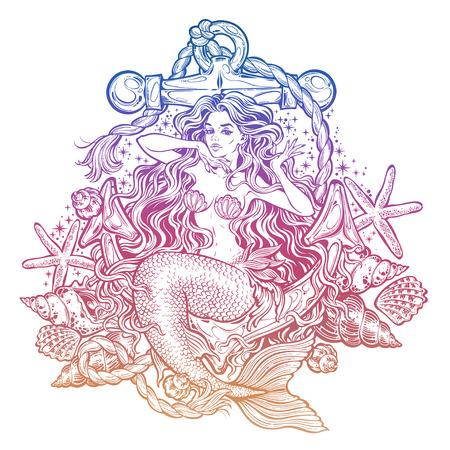 Hand drawn artwork of beautiful mermaid girl sitting on the anchor with seashells  イラスト・ベクター素材