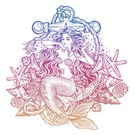 Hand drawn artwork of beautiful mermaid girl sitting on the anchor with seashells Vectores