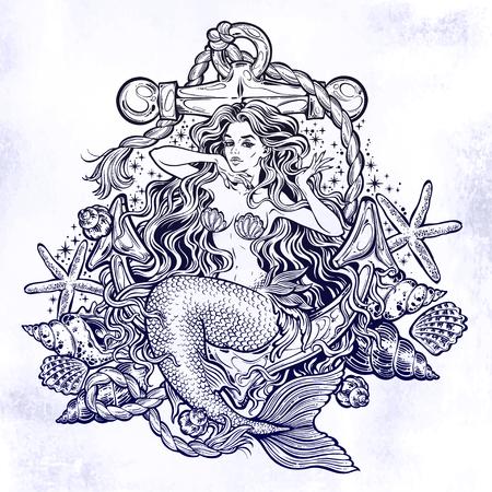 Hand drawn artwork of beautiful mermaid girl sitting on the anchor with seashells Illustration