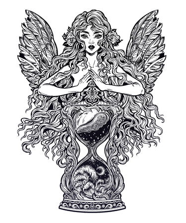 Beautiful woman as a goddess ot time holding decorative antique hourglass illustration. Çizim