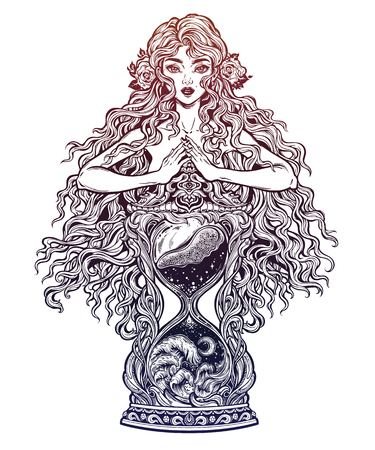 Beautiful woman as a goddess ot time holding decorative antique hourglass illustration. Illustration