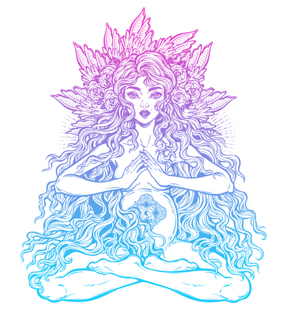 Sacred motherhood. Beautiful pregnant woman with long hair. Love your maternity body concept. Fertile female. Woman achieves harmony, peace throught having a child. Vector isolated illustration