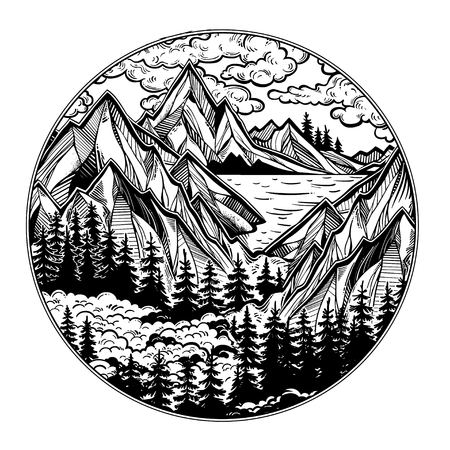 Round artwork with Wilderness landscape scene with a lake, road, pine forest and mountains. Vector illustration isolated. Vintage outdoors nature. Adventure artwork for travel and wanderlust tattoo. Illustration