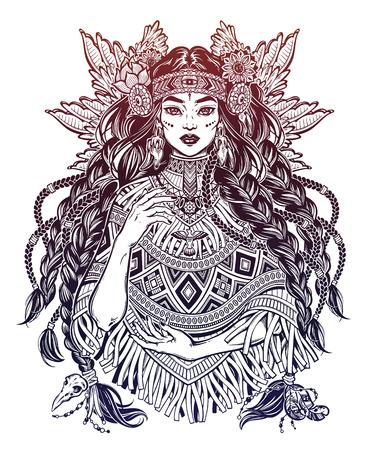 Beautiful Native American Indian woman. Ethnic tribal shaman girl wearing traditional poncho.  イラスト・ベクター素材
