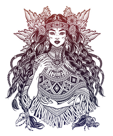 Beautiful Native American Indian woman. Ethnic tribal shaman girl wearing traditional poncho. Illustration