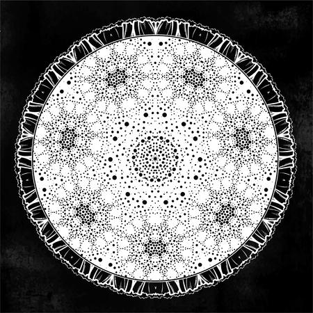 Sacred Geometry. Dark magic night sky Mandala round ornament. Esoteric symbol with dots..