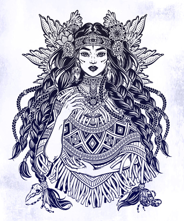Beautiful Native American Indian woman. Ethnic tribal shaman girl with long heair and wearing traditional poncho. Wild spirit of the West. Vector isolated illustration. Magic and tattoo. Illustration