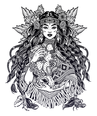 Native American Indian woman holding animal skull. Ethnic tribal shaman girl with long hair and wearing traditional poncho. Wild spirit of the West. Vector isolated illustration. Magic and tattoo