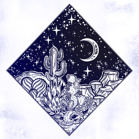 Night desert of America with cacti and animal skull. Great outdoors, travel freedom and nature. Prairie landscape. Isolated vector illustration. Wild spirit of the West. Magic and tattoo.