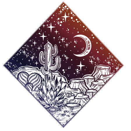 Night desert of America with cacti. Great outdoors, travel freedom and nature. Prairie landscape. Isolated vector illustration. Wild spirit of the West. Magic and tattoo.