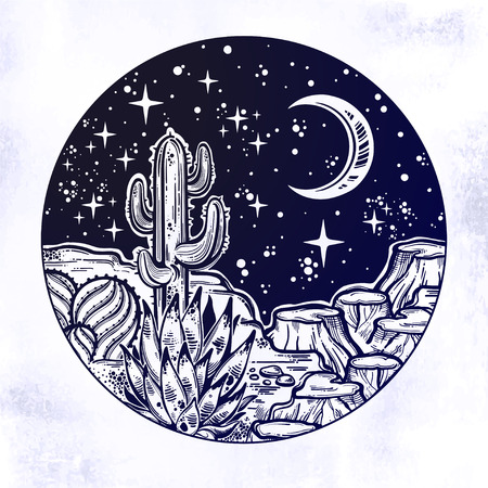 Night desert of America with cacti. Great outdoors, travel freedom and nature. Prairie landscape. Isolated vector illustration. Wild spirit of the West. Magic and tattoo. Stock fotó - 114923716