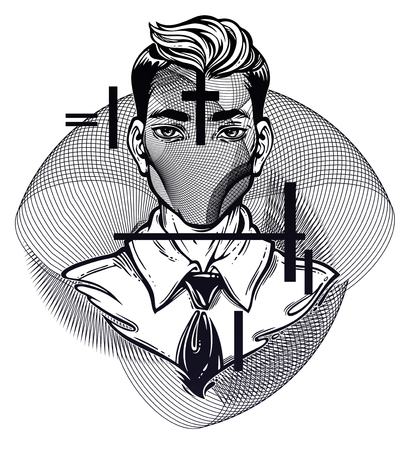 Hand drawn portrait of a weird man with anonymous face. Graphic drawing in Noir retro style with geometric abstract head. Character design, surrealism, tattoo art. Isolated vector illustration.
