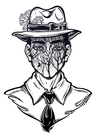 Portrait of a weird man with anonymous face in a hat. Graphic drawing in Noir retro style with forest tree branches head. Character design, surrealism, tattoo art. Isolated vector illustration.