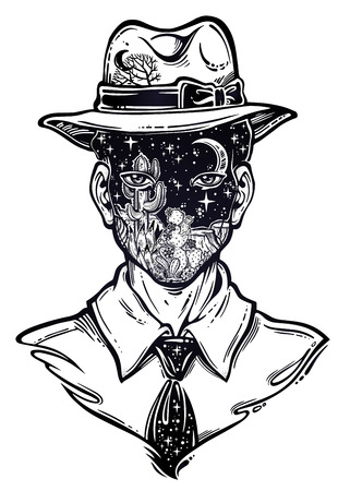 Portrait of a weird man with anonymous face in a hat. Graphic drawing in Noir retro style with forest desert lanscape head. Character design, surrealism, tattoo art. Isolated vector illustration.