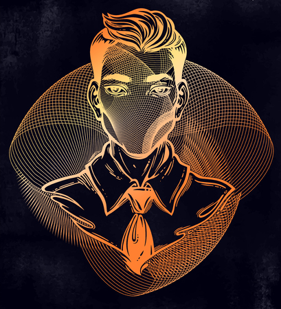 Portrait of a weird man with anonymous face. Noir retro style with geometric abstract head.