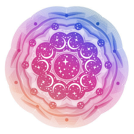 Abstract space circle geometric shape pattern design and background with stras and crescent moon. Illustration