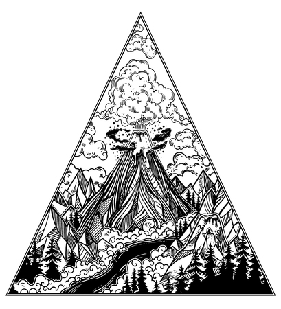 Wild volcano landscape with forests and mountains. Nature disaster. The eruption and smoke against the sky with volcanic clouds. Isolated vector illustration. Tattoo, travel, adventure symbol.
