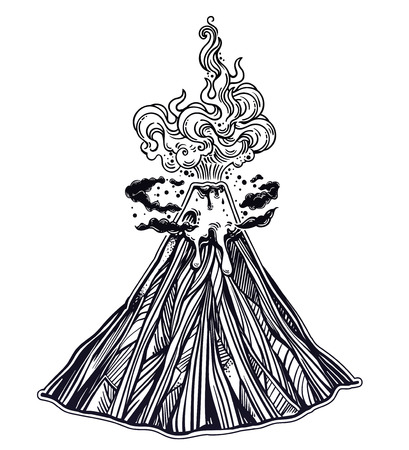 Hand drawn volcano. Nature disaster. The eruption and smoke against the sky with clouds. Isolated vector illustration. Tattoo, travel, adventure, retro symbol. Metaphor of passion or emotions.