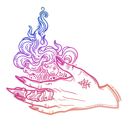 Witch gothic hand with fire flames with black nails, claw ring and tattoo. Magic. Boho style set. Halloween isolated illustration. Imagens - 105209059