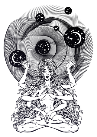 Space and time universe many armed goddess girl in lotus position with long hair, six hands. Çizim