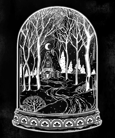 Glass dome jar with wood cabin in winter forest landscape with trees and snow road. Vector illustration isolated. Vintage outdoors wilderness. Adventure artwork for travel and wanderlust tattoo.