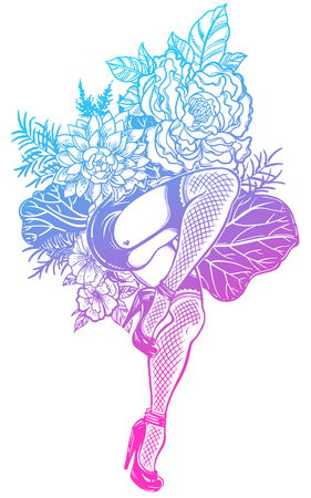 Surreal dancing female legs and a beautiful flower stem. Illustration