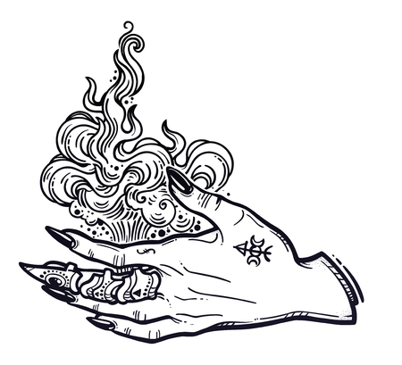 Witch gothic hand with fire flames with black nails, claw ring and tattoo. Magic. Boho style set. Halloween isolated illustration. Иллюстрация
