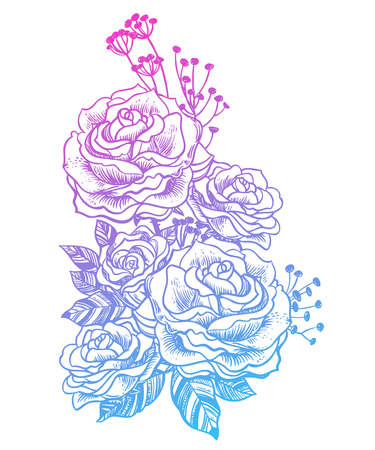 Wild field summer rose flowers, bridal bouquet sketch in line art style. Elegant floral blossom, romantic decoration. Botanical vector isolated illustration. Illustration