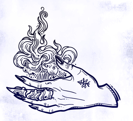 Witch gothic hand with fire flames with black nails, claw ring and tattoo. Magic. Boho style set. Halloween isolated illustration. Illustration
