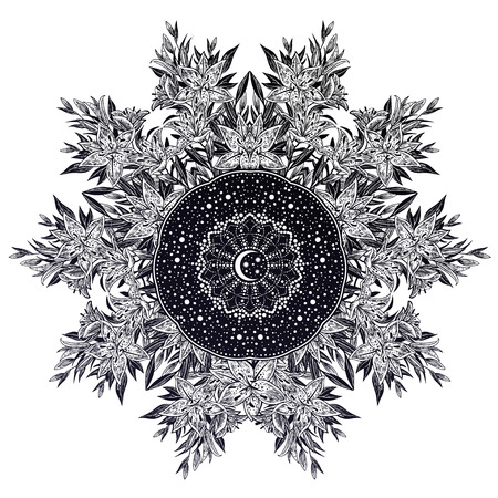 Lily flower space mandala with stras and moon. Stock Photo