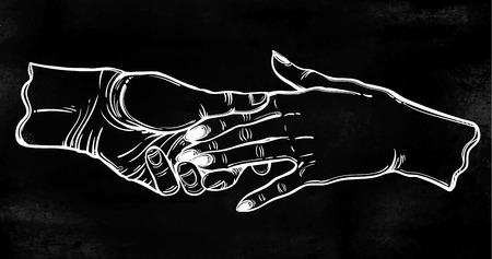 Couple hold hands pop art tattoo style.