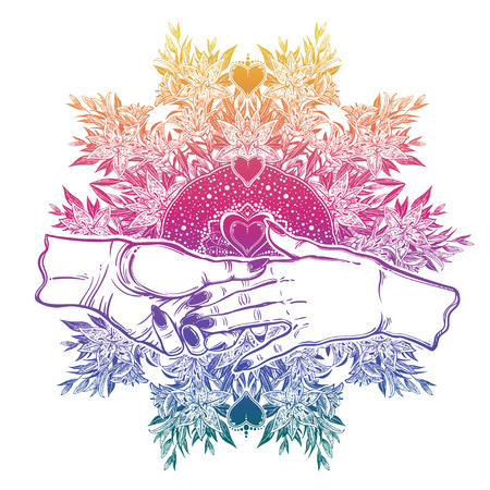 Female couple hold hands in spiritual blooming lily flower frame. Womanhood, wicca, friendship or gay relationships. Vintage magic style. Conceptual support or lgbt vector isolated illustration.