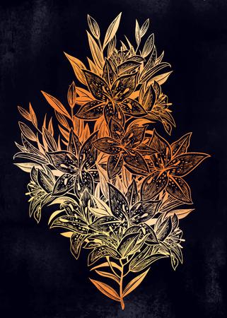 Wild summer lilium flowers, field bouquet sketch in line art style. Elegant floral tiger lily blossom, romantic decoration. Botanical vector isolated illustration. Ilustração
